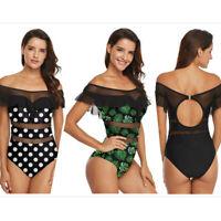 Women Off Shoulder Swimwear Mesh One Piece Padded Monokini Swimsuit Bathing Suit