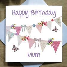 Personalizzato FATTO A MANO Bunting cartolina Di Compleanno-femmina, mamma, sorella, amica, Ragazza