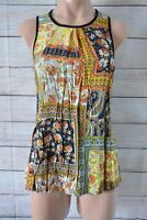 Cue In The City Top Tank Blouse Sze 8 Small Blue Yellow Orange Floral Sleeveless