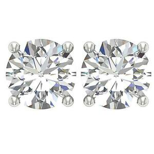 I1 G 1.60 Ct Round Diamond Solitaire Stud Earrings 14K White Gold 4 Prong Set