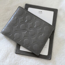 NWT MEN COACH Gray OP Art Embossed Signature Leather Bi-fold ID WALLET NEW