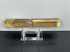 Antique Vintage WOOD Boxwood & Brass Folding RULER LUFKIN Tool No.386