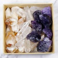 3 Color Crystal Collection 250g Lot Natural Points Amethyst Citrine Clear Quartz