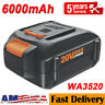 6.0Ah WA3520 For WORX WA3575 WA3578 WA3525 WG160 20-Volt Max Lithium-Ion Battery