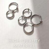 2 Paar Versenkbare Edelstahl einfache runde Kreis Ohrringe keine Notwendigkeit