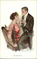F. Earl Christy LOVE MATCH Beautiful Woman Propsal Ring Exchange Postcard