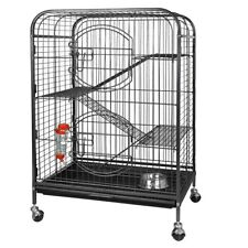 Foldable 37� Ferret Home Pet Cage Small Animals Hutch with 2 Front Doors & Tray
