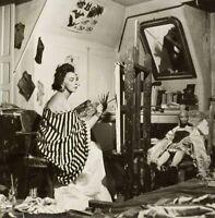 """PHOTOGRAPHIE,  """"Leonor Fini dans son atelier"""", 1952      /     15 x 15 cm"""