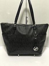 Michael Kors Handbag Jet Set MK Signature Logo PVC Tote Bag, Black