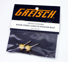 Genuine Gretsch Gold Guitar Strap Button Knobs and Hanger Bolts, Gold, Set of 2