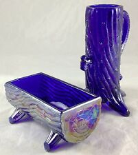 Cobalt Blue Carnival Glass Pump Trough Pattern Glass Mug Utensil Cracker Holder