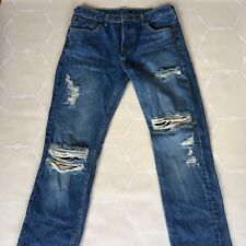 Levi's Distressed Patchwork Twin Dragon Palm Tree Print Denim Jeans 32x32  31x33