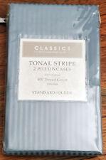 CLASSICS BY CHARTER CLUB TONAL STRIPE STANDARD QUEEN PILLOWCASES Breeze Blue NEW