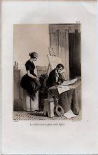 GRAVURE DE 1849  --  LES VIEILLES BOTTES DU GRAND PEINTRE SIGALON    PAR LEROUX