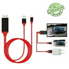 Câble Adaptateur 2M Lightning vers HDMI TV 1080P iPad iPhone 6 6S 7 8 Plus Relié