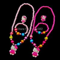 Bijoux Enfant,Parure Fille,Hello Kitty,Perles,Colier+Bracelet+Bague,Idée Cadeau
