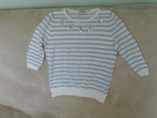 Womens Size 16 - Blue/ White Striped Fine Cotton Knit Jumper with Beadwork - TU