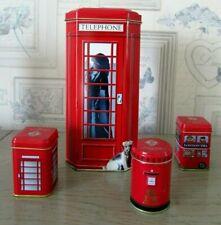 Lot 4 boîtes métal : Grande cabine téléphonique, 3 petites Tea London, Breakfast