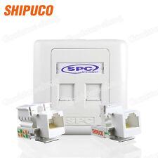 Wall plate Double Port Socket Network Ethernet LAN CAT5 5e Panel Faceplat RJ45