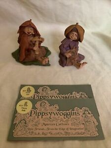 Vintage Pippyswoggins Figurines Lot Of 2 Hand Painted Friar Folk 1993-1995