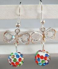 1pair butterfly 925 earrings silver pendant earrings Shambhala charm bead