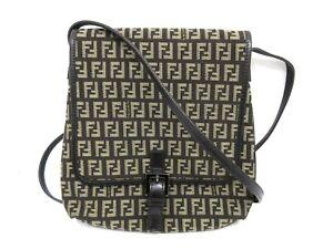 Authentic Excellent FENDI Zucca Shoulder Bag Nylon Leather With Dust Bag 91750
