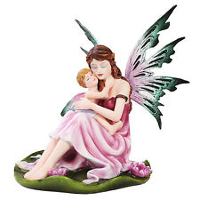 Mother and Child Baby Fairy Hugging Hug on Lily Pad Figurine Statue