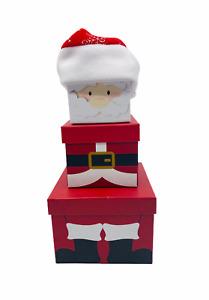 Xmas Festive Gift Box Santa 3pc Set Stacking Nesting Christmas Eve Boxes