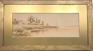 ANTIQUE JAS CALLOWHILL ARTIST SIGNED ORIGINAL WATERCOLOR PAINTING LANDSCAPE