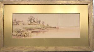 ANTIQUE JAS CALLOWHILL ARTIST SIGNED ORIGINAL WATERCOLOR PAINTING LANDSCAPE