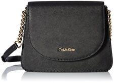 Calvin Klein on My Corner Saffiano Crossbody, Black/Gold H6JE15UE Handbag Purse