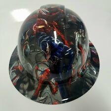 New Full Brim Hard Hat Custom Hydro Dipped Venom Vs Spiderman Killer Hard Hat