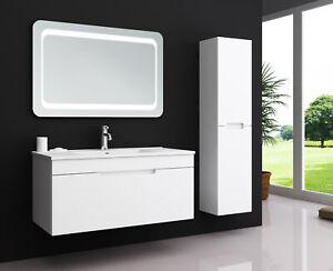 Badmöbel Waschtisch mit Unterschrank Waschbecken Set Weiß Spiegel KIMIA 90 cm