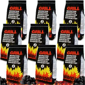 Deuba Sacchi di bricchetti 27kg carbone barbecue carbonella 9 sacchi x 3kg