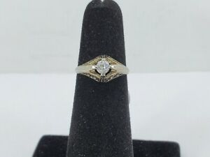 18k White Gold Diamond Ring - Size 4