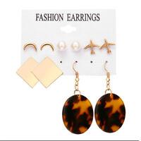 5Pairs Boho Fashion Pearl Moon Plane Earrings Set Women Ear Stud Jewelry Gift