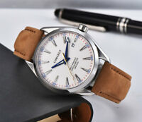 Corgeut Sapphire crystal Luminous  Leather strap white dial Automatic mens Watch