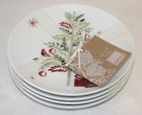 222 Fifth Winter Cheer Porcelain White Holiday Appetizer Plates Set of 4 New