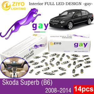 14 Bulbs Deluxe 6000K White LED Interior Light Kit For 2008-2014 Skoda Superb B6