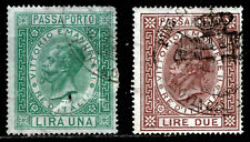 Italy - Revenue Passport Stamps Barefoot #4 (1 lira green) & #5 (2 Lire Brown)