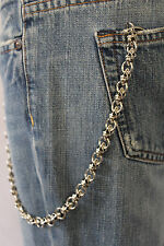 New Men Silver Metal Wallet Chain KeyChain Biker Jeans Trucker Mini UFO Skulls S