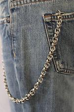 New Men Silver Metal Wallet Chain KeyChain Biker Jeans Trucker Mini UFO Skulls S