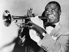 Imprimé Poster musique Louis Armstrong trompette jazz portrait noir blanc nofl0053