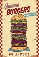 Gourmet Burgers Blechschild Schild gewölbt Metal Tin Sign 20 x 30 cm FA1212