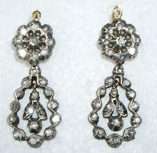*REDUCTION Scarce GEORGIAN Rose CUT Diamond ~DAY*~NIGHT*~Pierced EARRINGS c 1850