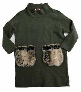 Il Gufo Girls Green Fur Pocket Dress Size 3 3T Orig.$220