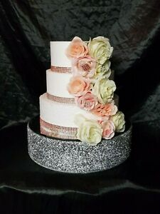 Silver Crystal wedding cake stand, Diamante cake stand Round or Square