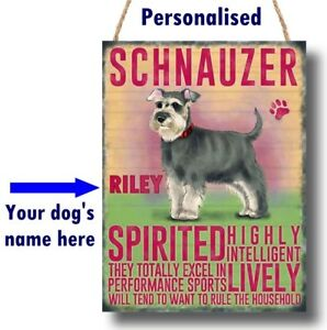 PERSONALISED Schnauzer Dog Breed Plaque Sign gift ANY NAME wall door vintage