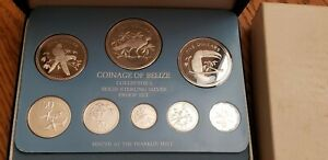 1978 FM Coinage of Belize Solid Sterling Silver Proof Set 8 Beautiful Birds