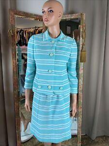 Vintage 3 Pc MCM Gogo Secretary Skirt Shirt Jacket Aqua White Stripe Suit S 4/6